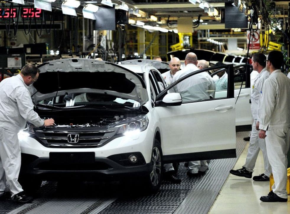 Workers on the Honda CR-V production line at the Honda Plant in Swindon
