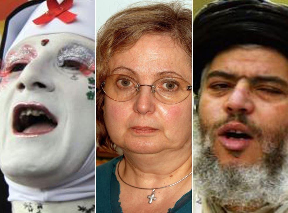 Left to right: A gay rights activist, Nadia Eweida, and Abu Hamza