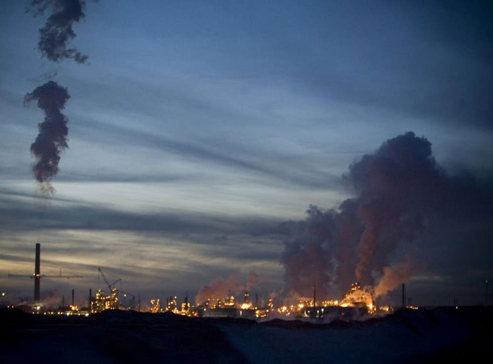 An oil refinery in Alberta separates the crude from tar sands