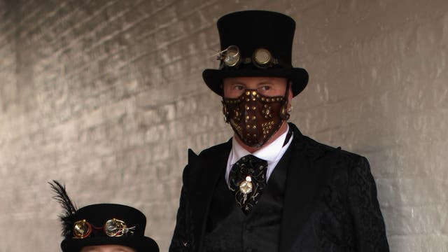 Steampunks Megan Waller, aged nine, and her father Heath Waller during Whitby Goth Weekend