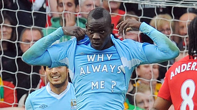 Balotelli unveils a T-shirt with the caption 'Why always me' on it