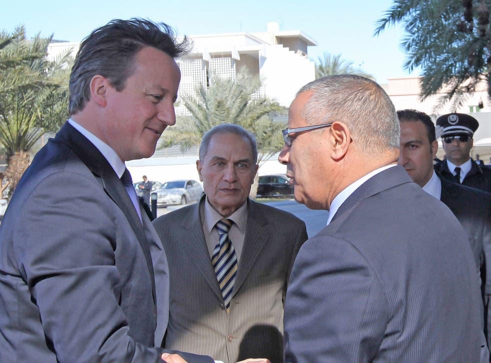 Libyan prime minister Ali Zaidan David Cameron ahead of their meeting