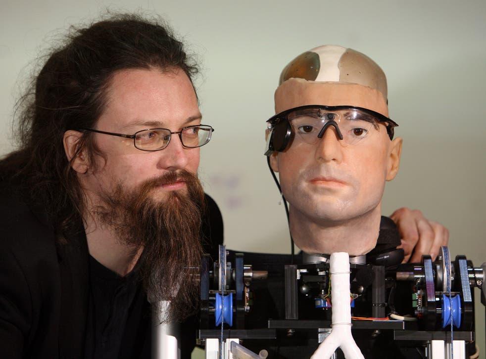 Roboticist Richard Walker with bionic man Rex