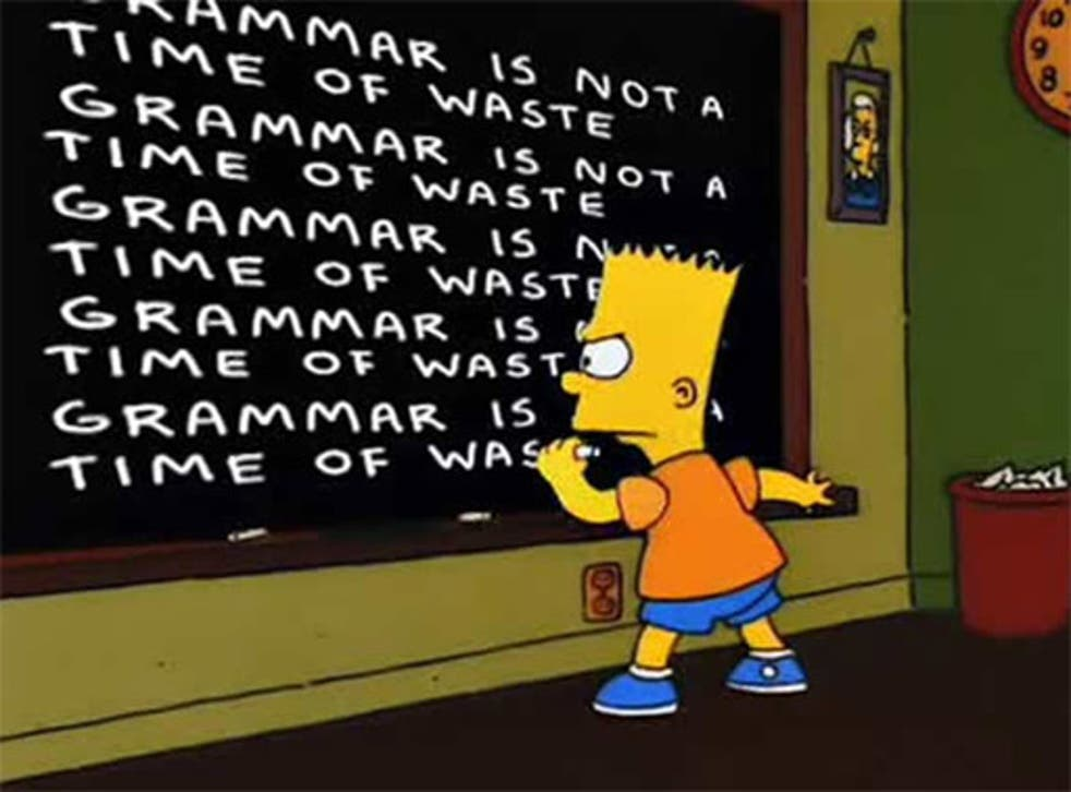 Bart Simpson writes out his punishment, incorrectly
