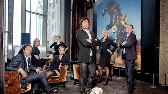 Petter Stordalen and the staff of The Thief hotel in Oslo
