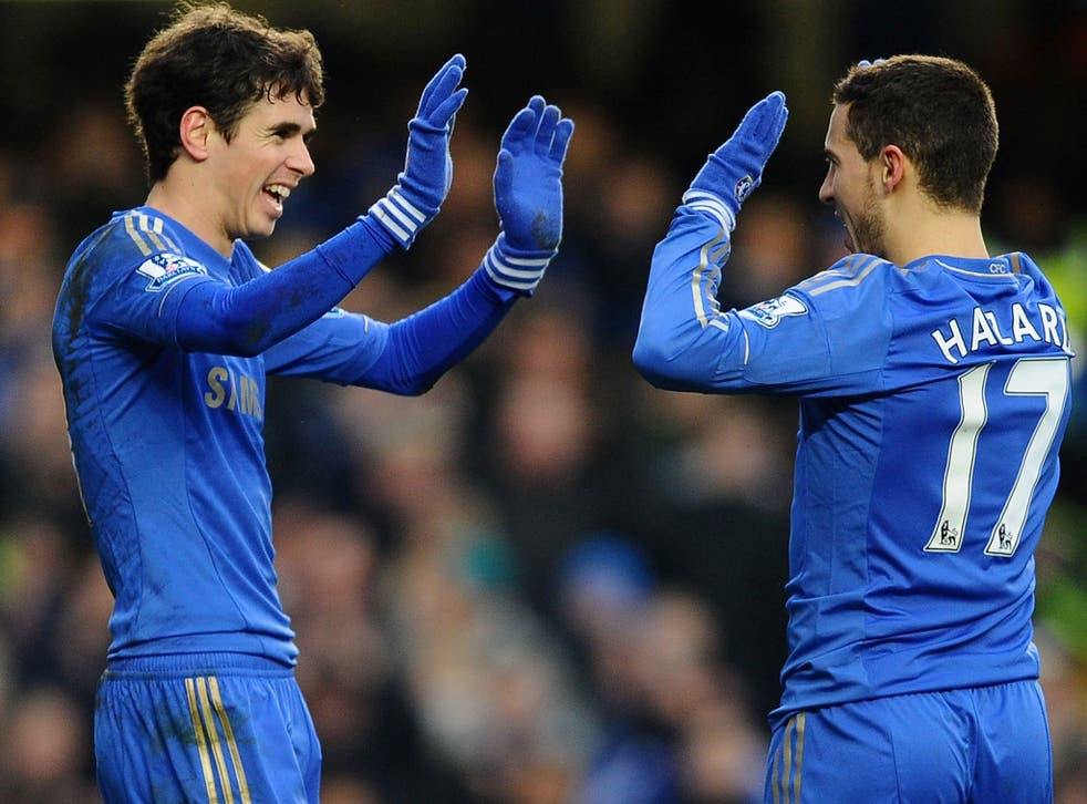 Eden Hazard and Oscar of Chelsea celebrate the Belgian's goal