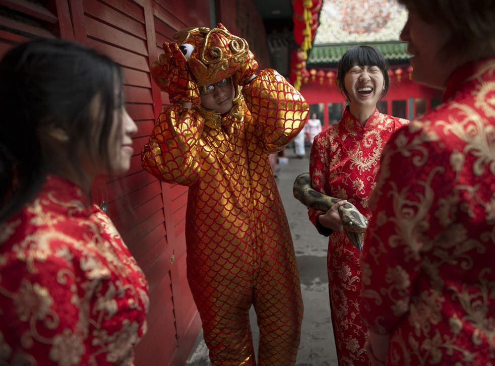 Performers are seen during preparations for Chinese New Year in Chinatown