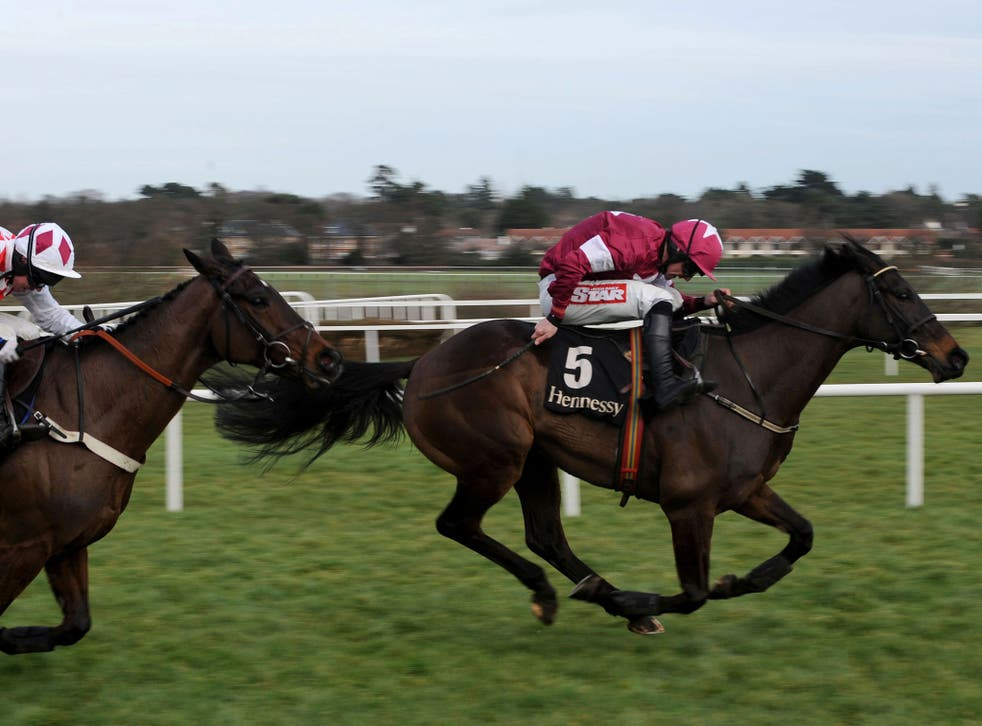 Gold standard: Sir Des Champs (right), ridden by Davy Russell, races clear of Andrew Lynch on Flemenstar to win the Hennessy Gold Cup at Leopardstown