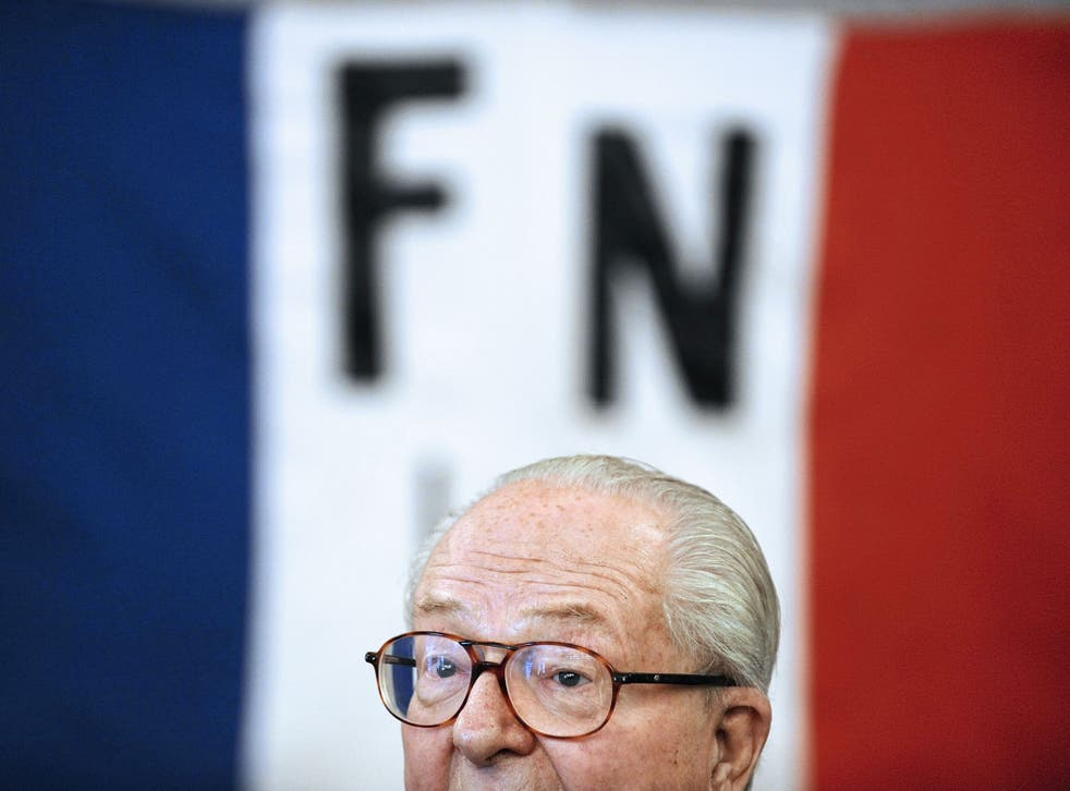 French far-right Front National (FN) party honorary president Jean-Marie Le Pen gives a press conference, on January 13, 2013, in Haute Goulaine, western France.