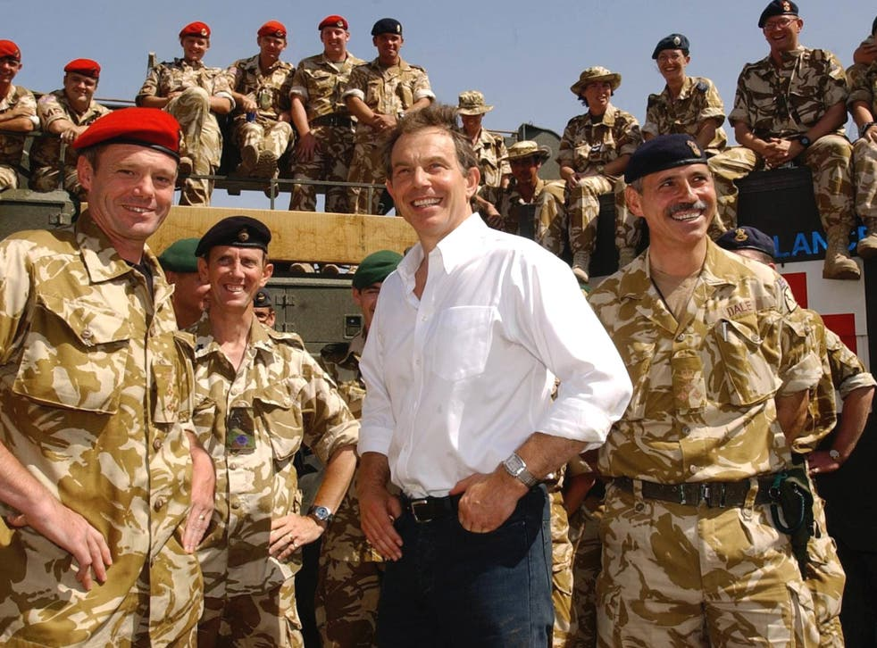 Tony Blair with troops in Iraq in 2003
