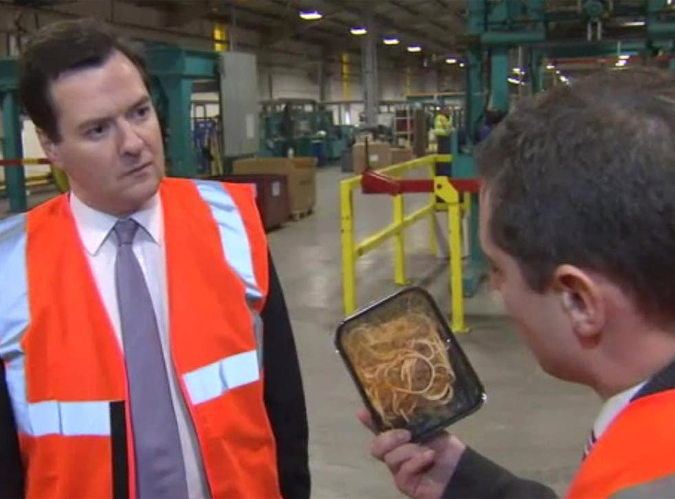 Confronted with a £1.50 spaghetti bolognese, it was hard to tell if the Chancellor looked queasy at questions over the safety of meat products or the thought of digging in to the ready-meal. Asked if he would be prepared to eat the dish, George Osborne sa
