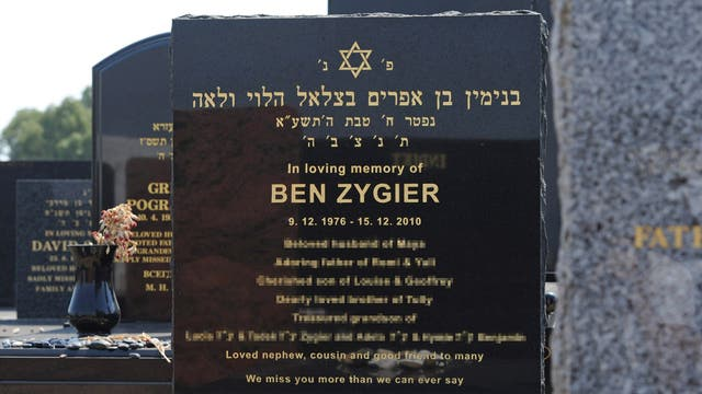 The tombstone of Ben Zygier at the Chevra Kadisha Jewish Cemetery in Melbourne, Australia