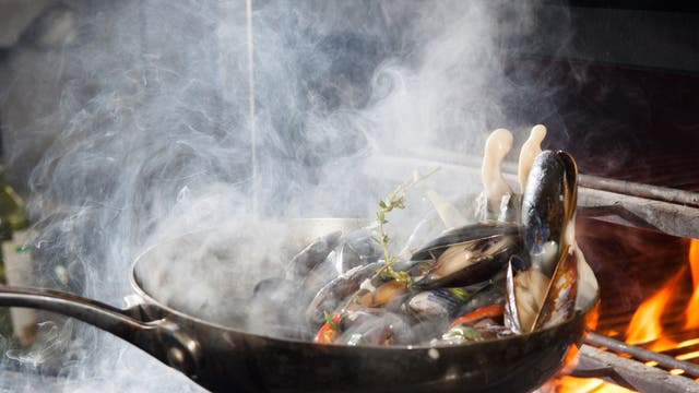 All fired up: Dave Scott smokes mussels on a Josper grill at the Blackwood in Edinburgh