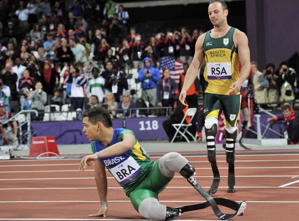 Oscar Pistorius with Brazil's Alan Oliveira at the London Paralympics