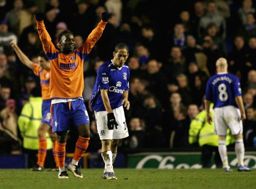 Jean-Paul Kalala after knocking Everton out of the cup in 2008