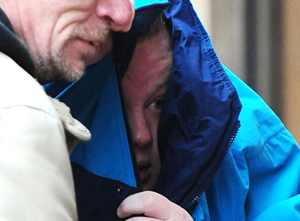 Liam Ferrar outside Leicester Magistrates Court, where he was sentenced for leaving a pig's head on the steps of a Muslim community centre