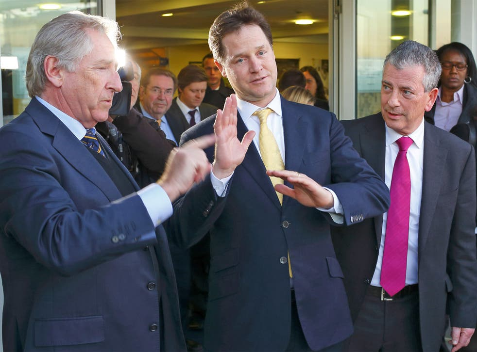 Nick Clegg in Eastleigh with Mike Thornton (right), the party's prospective candidate and Councillor Rod Bransgrove