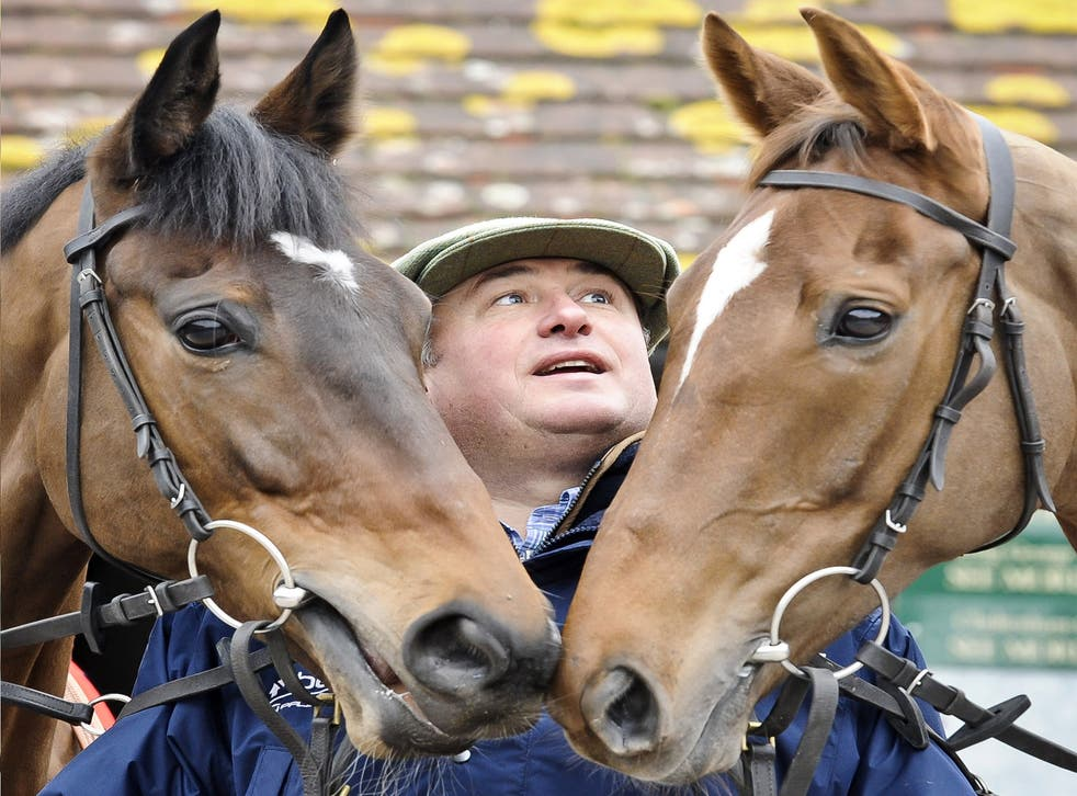 Champion trainer Paul Nicholls has high hopes for Silviniaco Conti (right) today
