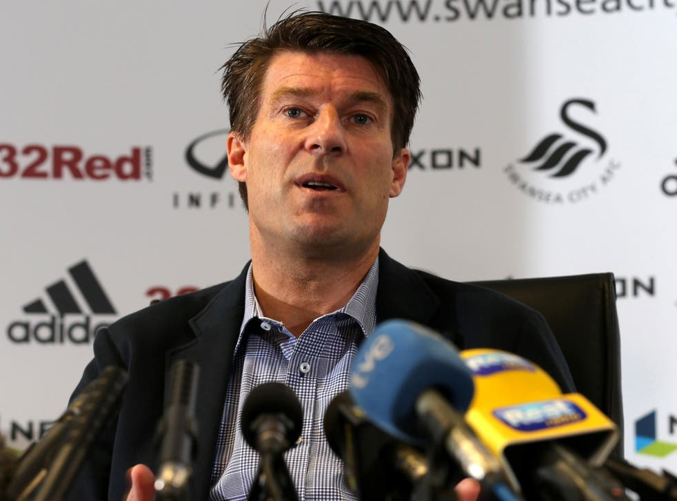 Michael Laudrup speaks to the media at the Liberty Stadium