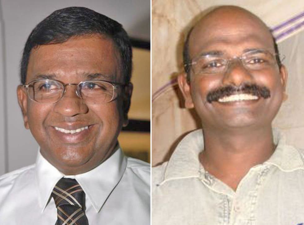 Tamil Tiger rebel leaders Pulidevan, right, and Nadesan, who were allegedly executed
