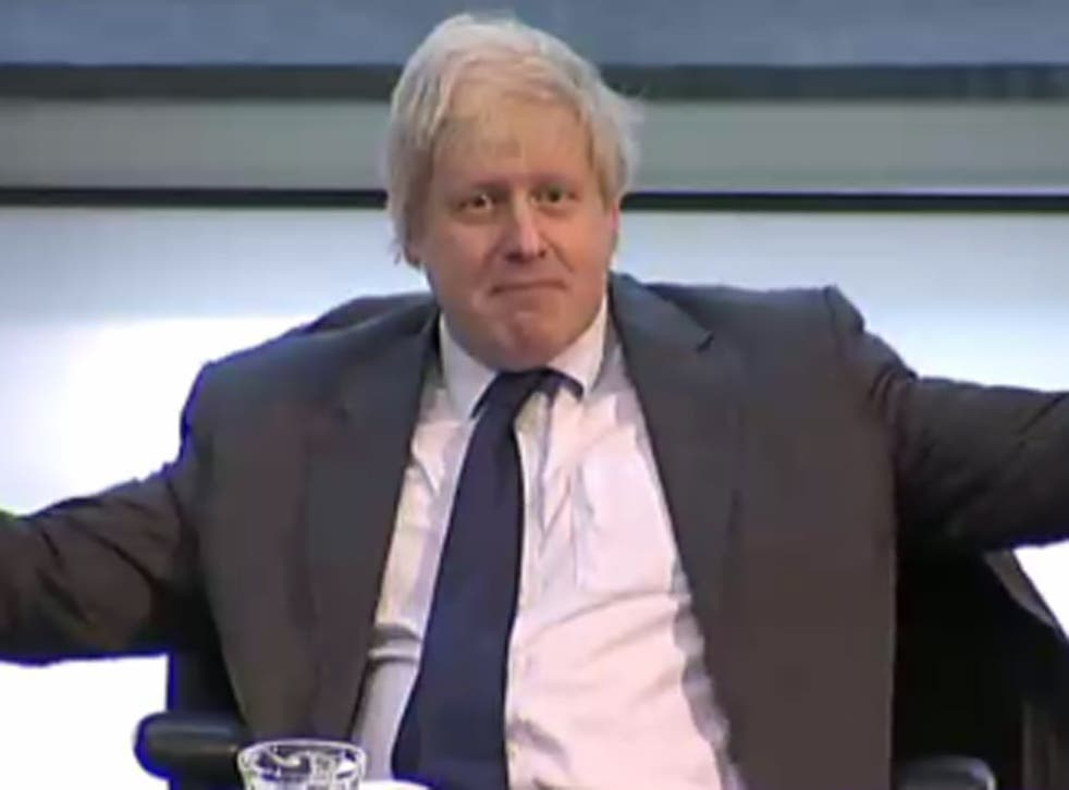 Boris Johnson shows his dismay at getting booted out of the meeting