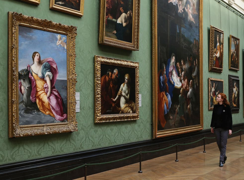 An Italian Baroque masterpiece entitled 'The Rape of Europa' by Guido Reni c.1637 (far left) hangs at the National Gallery on February 19, 2013 in London, England. The painting is one of 57 Baroque masterpieces bequeathed by the late Sir Denis Mahon from his private collection, and will be distributed to museums and galleries across the UK.