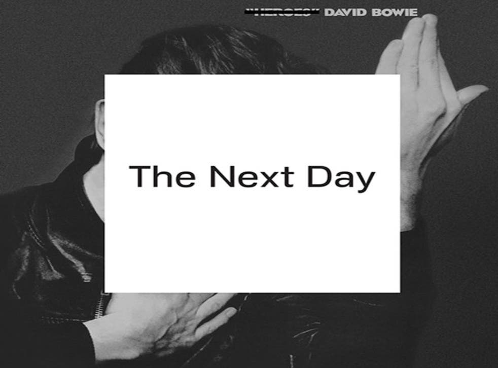 """The cover for The Next Day, by designer Jonathan Barnbrook, plays on the iconic cover of 1977's """"Heroes"""""""