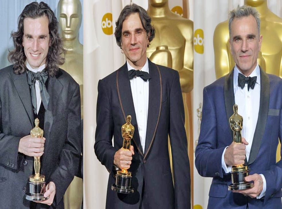 From left: Daniel Day Lewis wins Award for My Left Foot (1990), There Will Be Blood (2008) and Lincoln (2013)