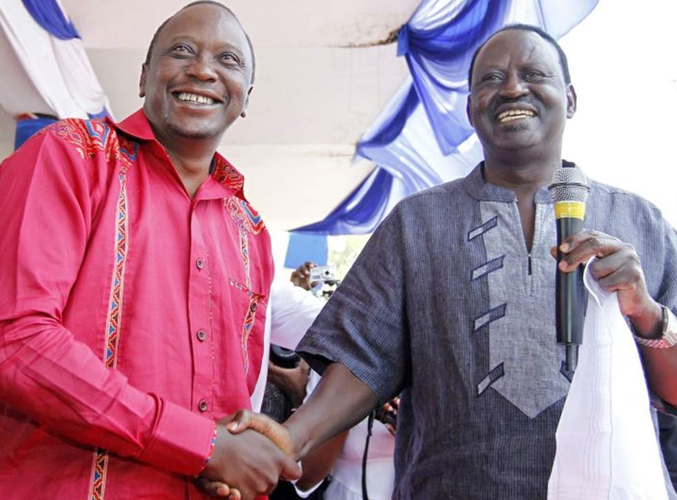Current leader Raila Odinga, right, and Uhuru Kenyatta are neck and neck in the polls
