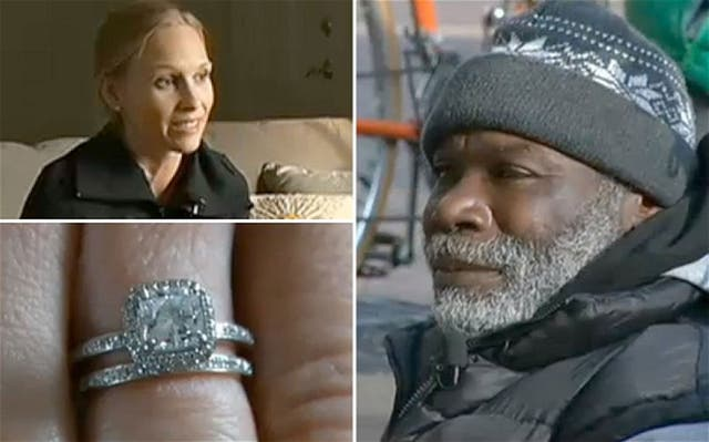Sarah Darling lost her engagement ring, which was found and looked after by homeless bay Bill Ray Harris