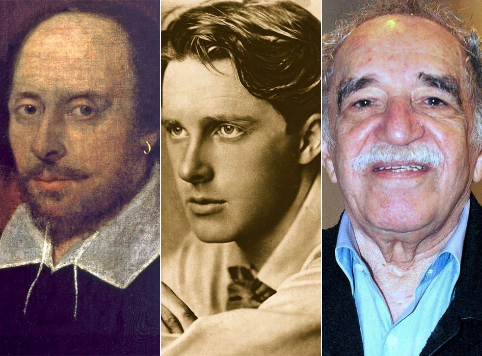 From left, William Shakespeare, poet Rupert Brooke and author Gabriel Garcia Marquez
