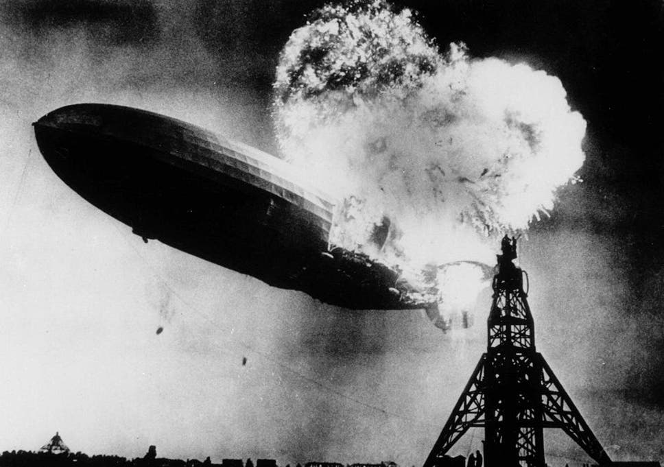The moment the Hindenburg suffered the first of three explosions over the Lakehurst naval air station in New Jersey on 6 May 1937. Thirty-six people, including one ground crew, were killed