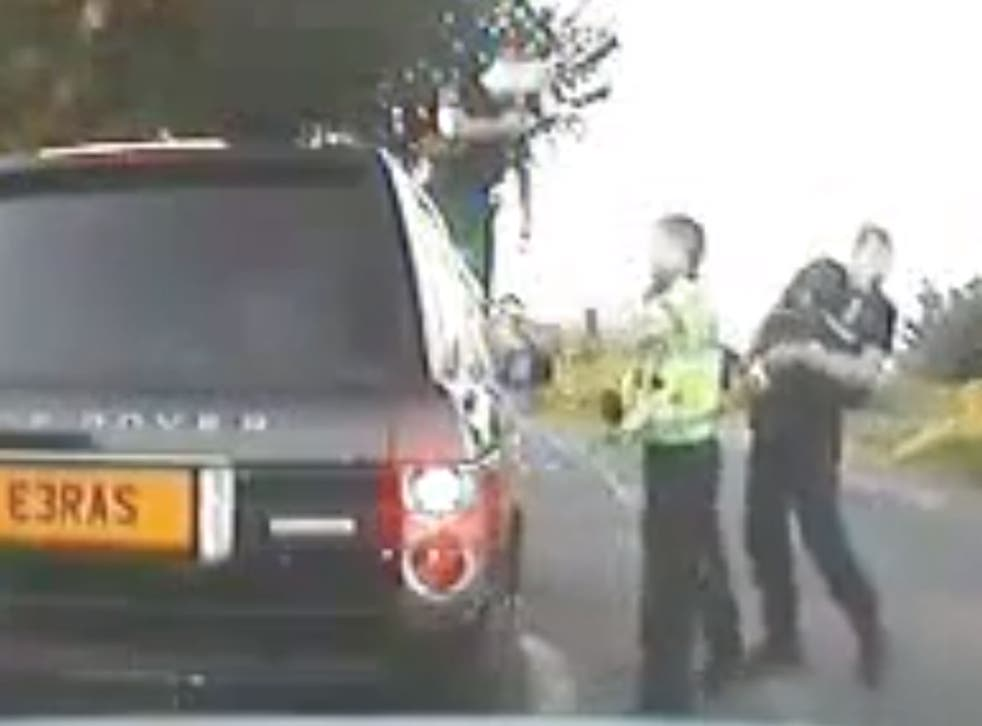 PC Mike Baillon was taped smashing in the windows on a disabled pensioner's car