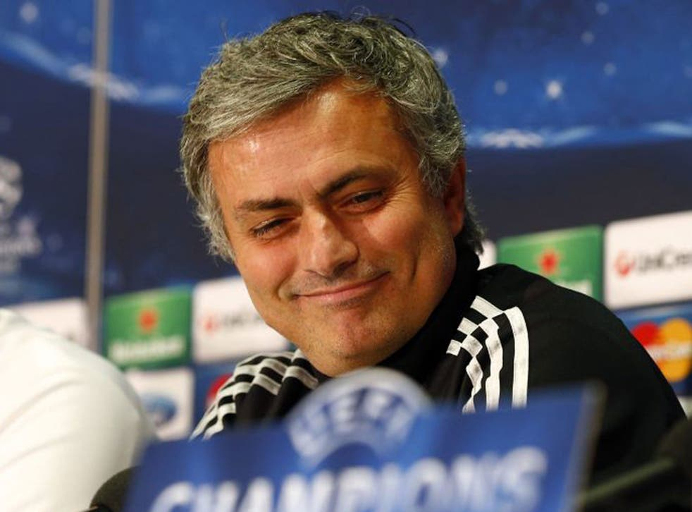 Jose Mourinho is all smiles during yesterday's press conference