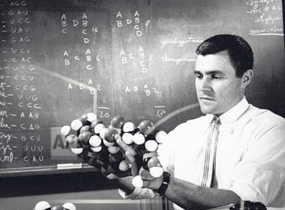 Woese in 1961 with a model of the ribonucleic acid chain