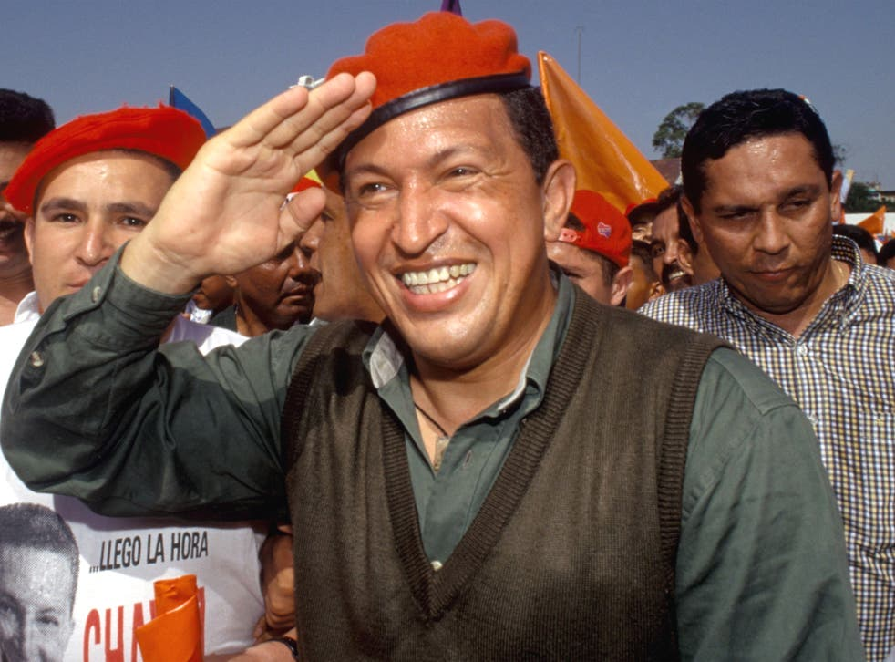 Hugo Chavez at a campaign rally in 2003