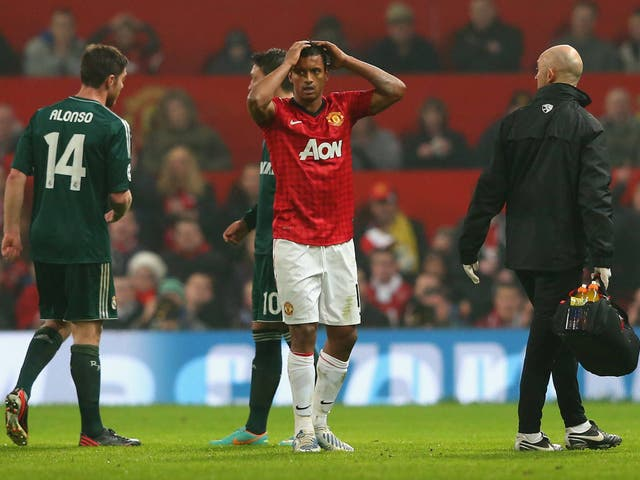 Nani reacts to his red card against Real Madrid