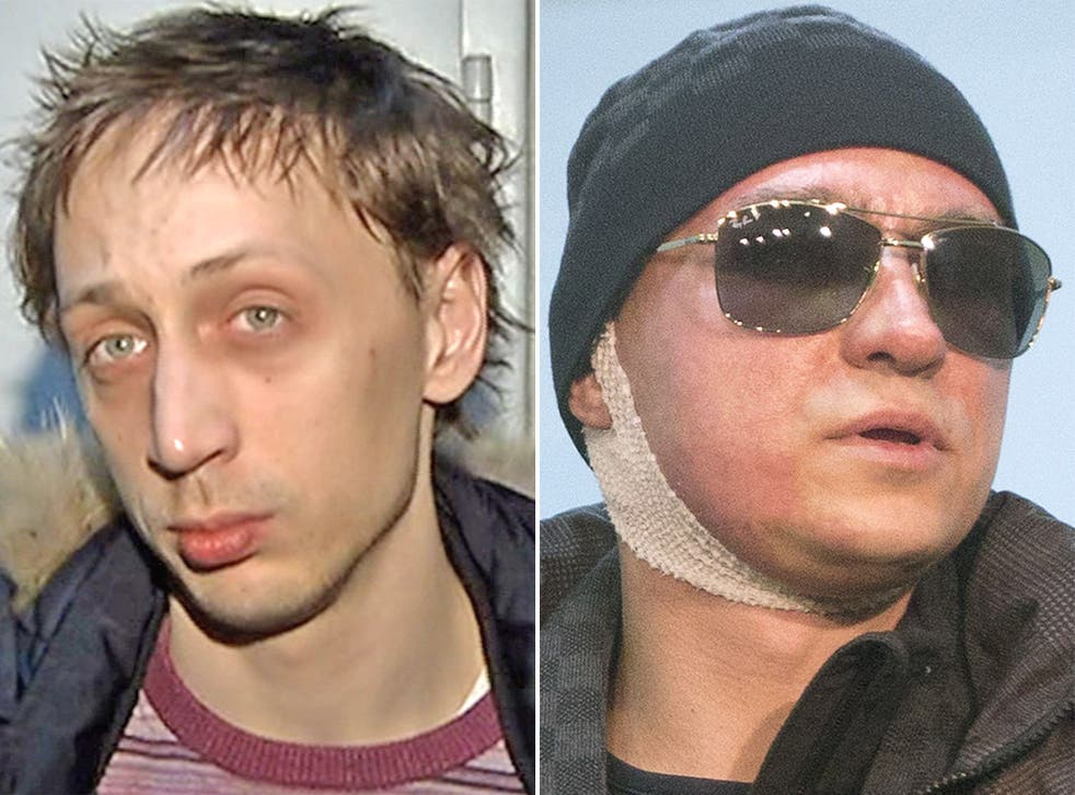 Pavel Dmitrichenko, left, in footage released by Moscow police. The dancer was convicted of organising an acid attack on Sergei Filin, right