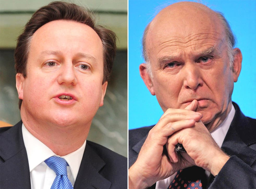 Prime Minister David Cameron and Business Secretary Vince Cable