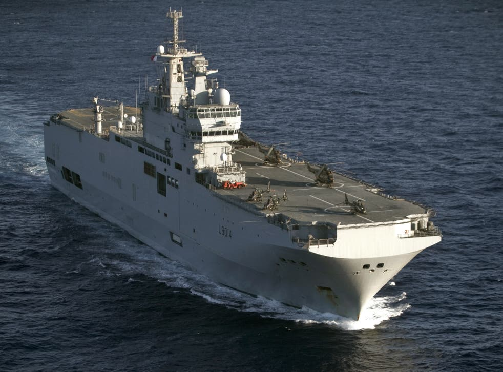 The French amphibious assault helicopter carrier 'Tonnerre' arrived in Portsmouth today
