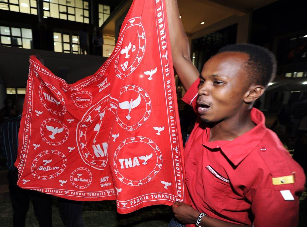 Jubilee Party supporters celebrate the vote for Uhuru Kenyatta