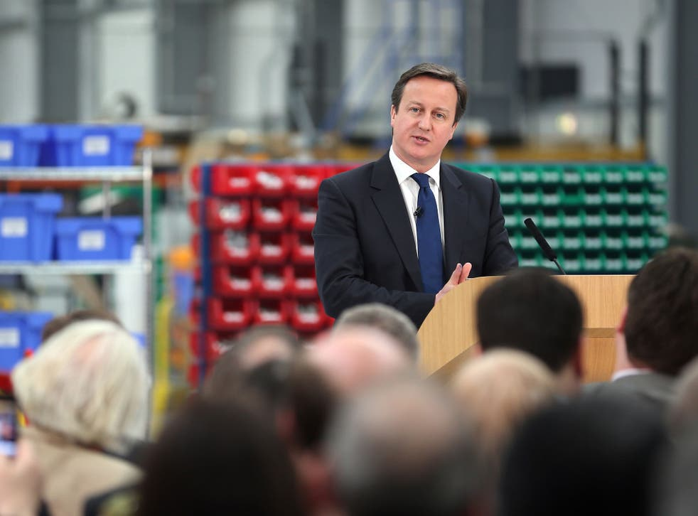 British Prime Minister David Cameron delivers his speech on the economy during a visit to precision grinding engineers Cinetic Landis Ltd on March 7, 2013 in Keighley, England.