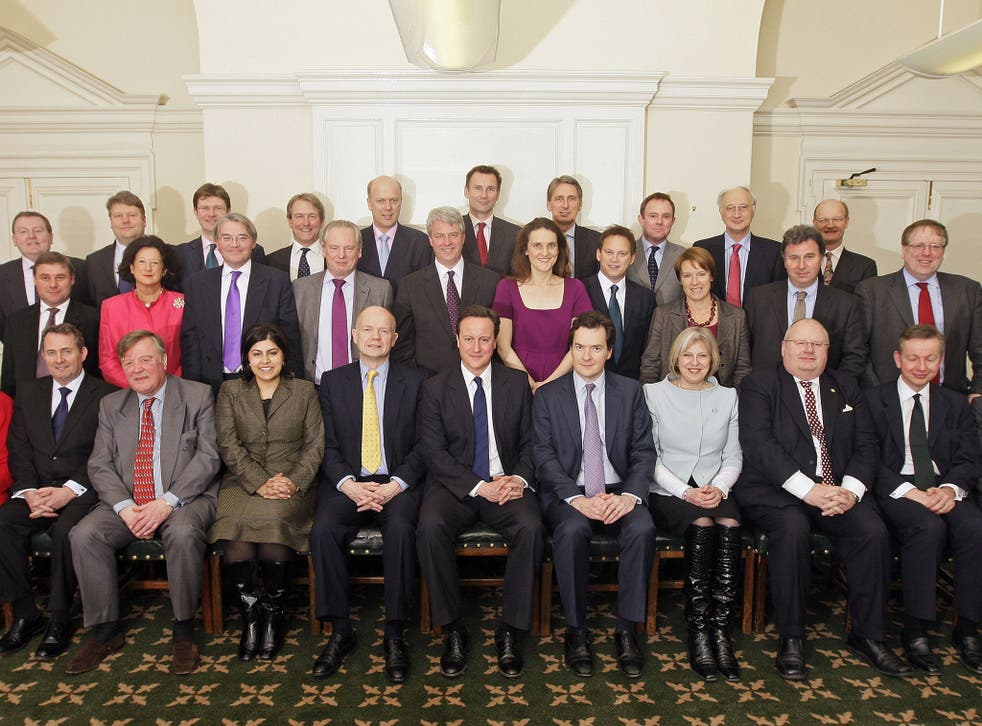 Members of the British government shadow cabinet pose for a family photo on February 9, 2010 in central London. (Back row L to R) David Mundell, Lord Strathclyde, Greg Clark, Owen Paterson, Chris Grayling, Jeremy Hunt, Philip Hammond, Nick Herbert, Sir George Young, David Willetts (Middle row L to R) Mark Francois, Lady Anelay, Andrew Mitchell, Francis Maude, Andrew Lansley, Theresa Villiers, Grant Shapps, Caroline Spelman, Oliver Letwin, Patrick McCloughlin (Front row L to R) Cheryl Gillan, Liam Fox, Ken Clarke, Baroness Warsi, William Hague, David Cameron, George Osborne, Theresa May, Eric Pickles, Michael Gove and Baroness Neville-Jones.