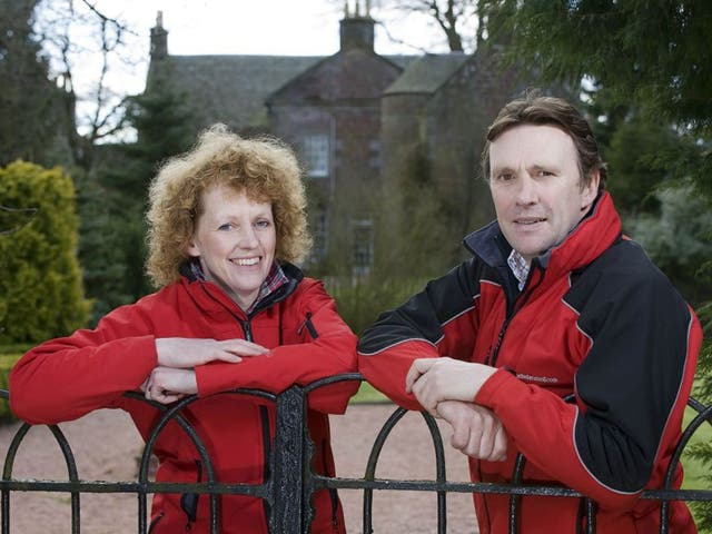 Lucinda Russell and Peter Scudamore at their Kinross yard