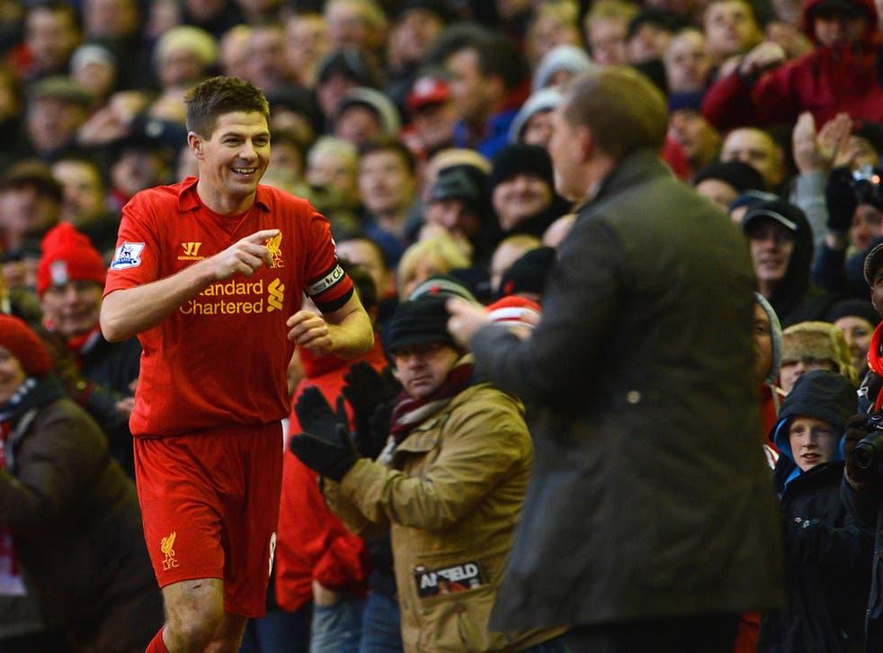 Steven Gerrard celebrates his winner against Tottenham