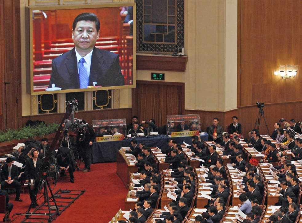 Communist Party chief Xi Jinping during the opening session of the National People's Congress in Beijing's Great Hall of the People earlier this month