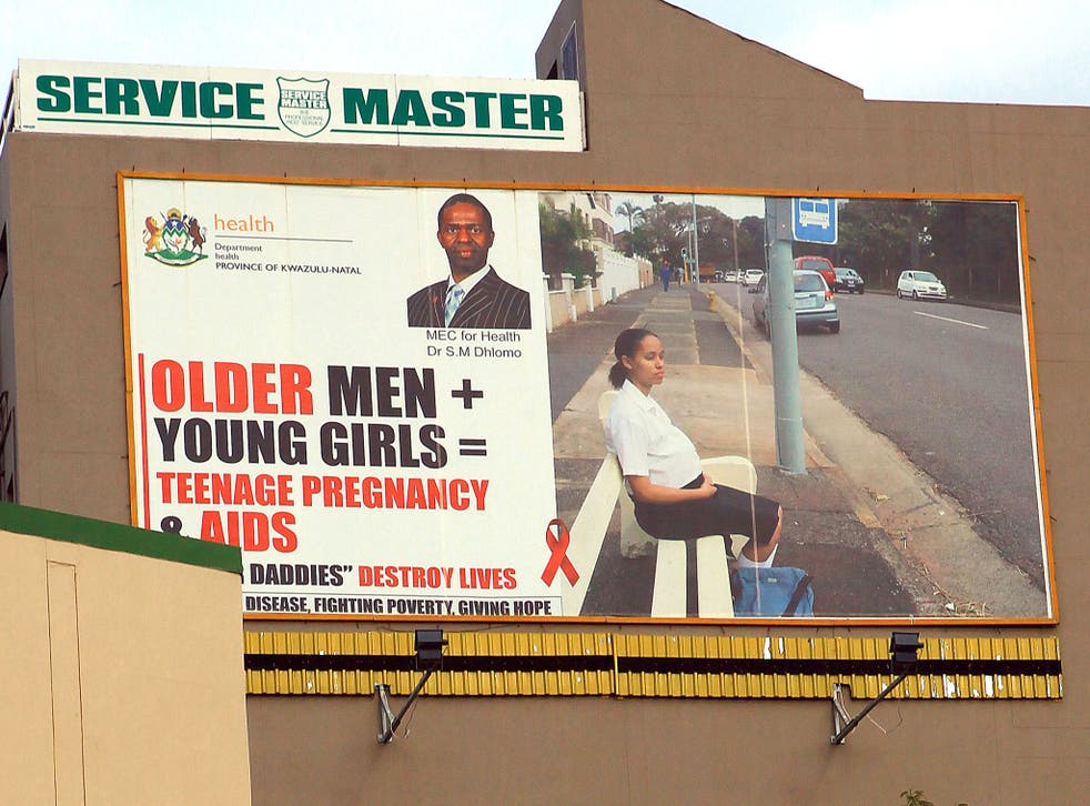 A giant billboard in South Africa  highlighting the dangers of young women having sex with older men