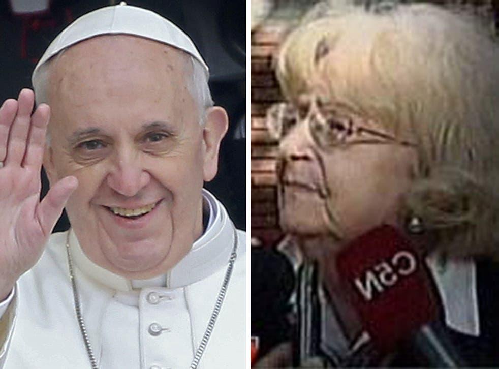 Pope Francis leaving Santa Maria Maggiore basilica in Rome yesterday; Amalia Damonte who says she spurned him