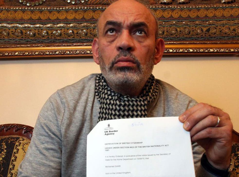 Gamal Sakr with the letter saying his son, Mohamed, had been stripped of his British citizenship