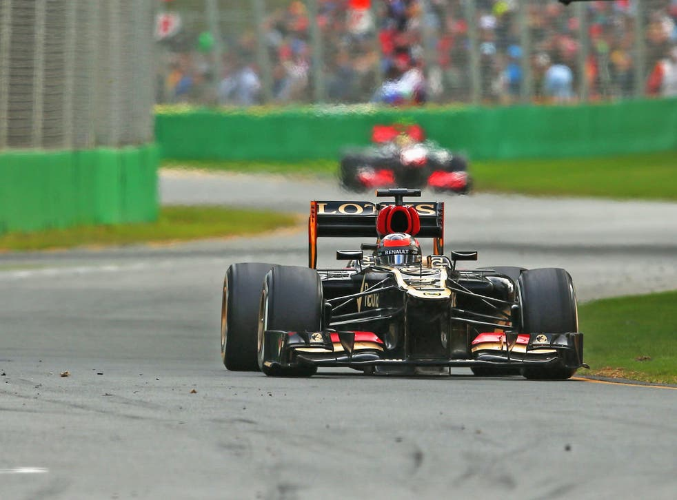 Kimi Raikkonen on his way to winning the Australian Formula One Grand Prix at the Albert Park Circuit